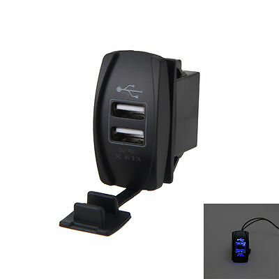 Blue USB Charger for Polaris UTV RZR RZR4 Ranger XP 1000 900 800 Crew LAM
