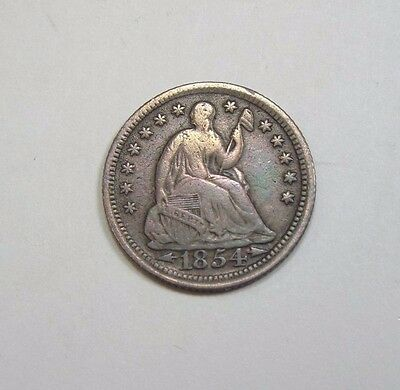 1854 Liberty Seated Half Dime w/Arrows at the Date FINE Silver 5c