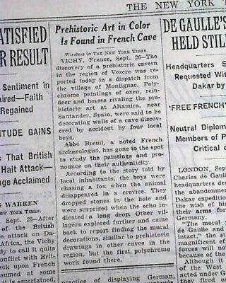 LASCAUX CAVE PAINTINGS Paleolithic Prehistoric Find in FRANCE 1940 Old Newspaper