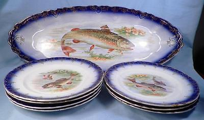 Antique Fish Set Flow Blue Platter & 7 Plates Earthenware Fish Decals Colorful