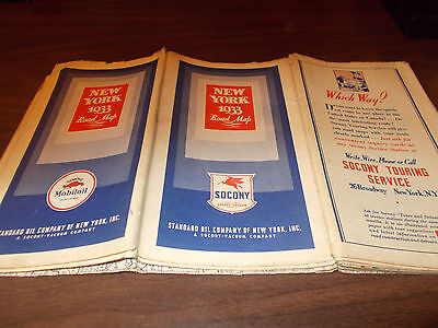 1933 Mobil /Socony New York Vintage Road Map