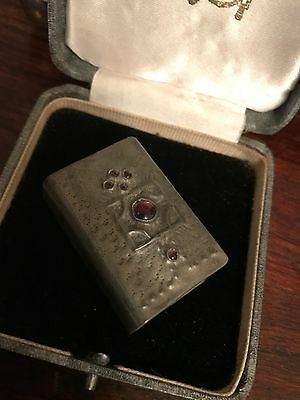 Antique Vintage Arts And Crafts Pewter Matchbox Cover Inlaid With Glass Cabochon