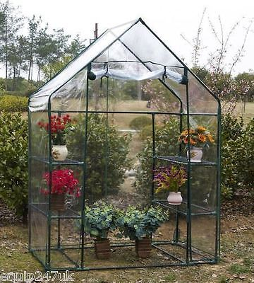 Walk In Greenhouse PVC Plastic Garden Grow Green House with 4 Shelves