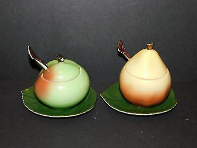 Carlton Ware Apple Preserve Pot & Pear Preserve Pot On Base Saucers With Spoons