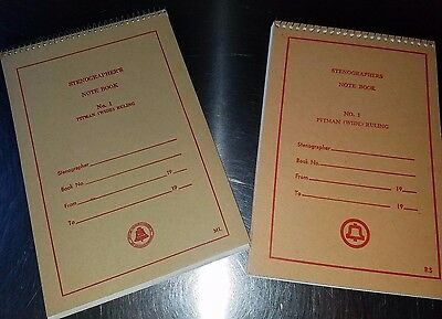 2 Vintage Bell System Telephone Company Spiral Stenographers Note Books / Pads