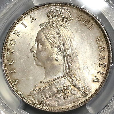 1889 PCGS MS 63 Silver 1/2 Crown Victoria GREAT BRITAIN Coin (16012601D)