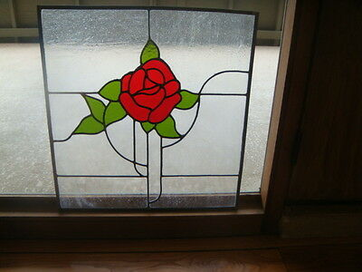 "Vintage 1970's Leaded Glass Window Red Rose 22"" X 24"" Hand Made No Damage"