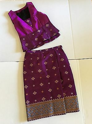 Lao Laos Thai Silk And Silk Blend  Sinh Party Outfit Purple Magenta