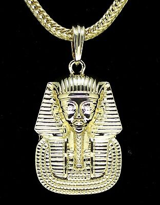 "Pharaoh King Tut Pendant 14k Gold Plated Egyptian 24"" Franco Chain Set Hip Hop"