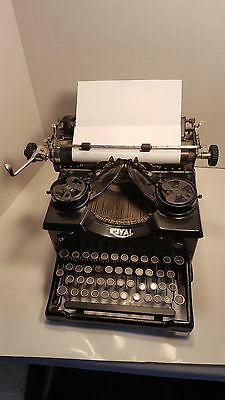 "WORKING Antique ROYAL Gloss Black TOUCH CONTROL Typewriter ""LIKE-NU"" Rebuilt Tag"