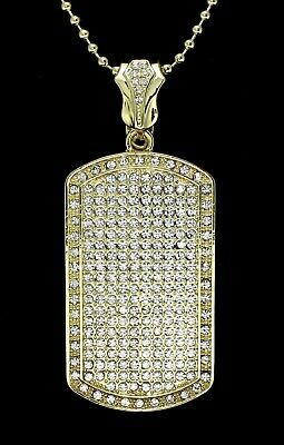 """Mens XL Icy Dog Tag Pendant 14k Gold Plated 24"""" Ball Necklace Hip Hop"""