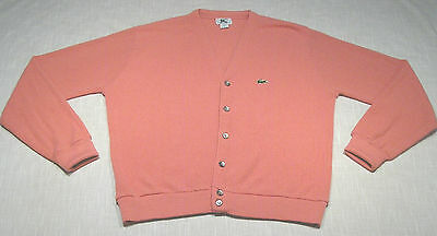 Vtg IZOD LACOSTE Cardigan Sweater (Late 80s) Pink PREPPY/COUNTRY CLUB! WOW! M
