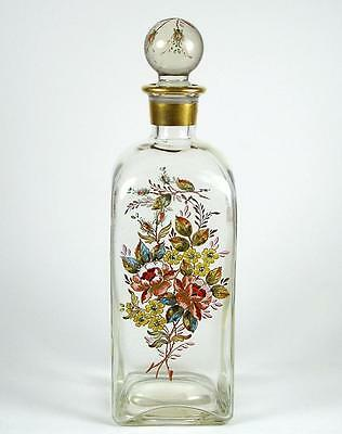 Vintage Glass Enameled Liquor Bottle Decanter Hand Painted Flowers 13""