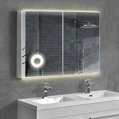 house] LED Mirror cabinet 100x70cm Bathroom Stainless steel Bath Wardrobe Silver