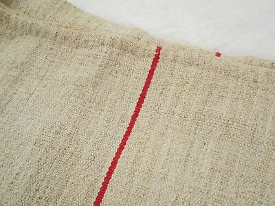 47X22 Vtg Antique RED STRIPE European HEMP LINEN Feedsack FEED SACK GRAIN BAG