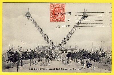 cpa ENGLAND LONDON 1908 Expo Franco British MANÈGE FLIP-FLAP Attraction Foire