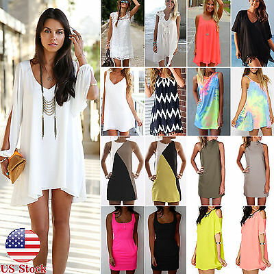 Womens Beach Short Mini Dress Summer Party Tops Casual Beachwear Bikini Cover Up