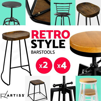 4x Industrial Retro Bar Stool Swivel Barstool Dining Chair Wooden Timber Leather