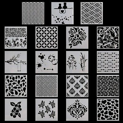Wall Painting Grain Stencil Flower Pattern Reusable Paint Stencil DIY New