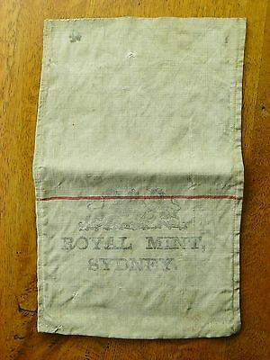 Coin bag, stamped with coat of arms, canvas, 'Royal Mint, Sydney' c. 1870s