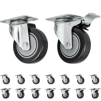 """Set of 16 Swivel Plate Casters with 4"""" Polyurethane Wheels & 8 Side Brakes"""