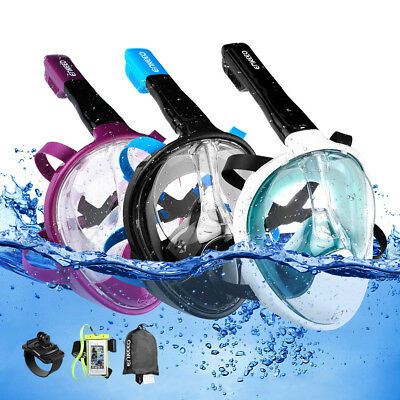 Snorkel Snorkeling Mask Full Face Diving Swimming Goggles for GoPro w/ Case+Band
