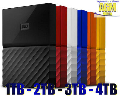 Hard Disk Esterno Western Digital My Passport New 1Tb 2Tb 3Tb 4Tb Usb 3.0