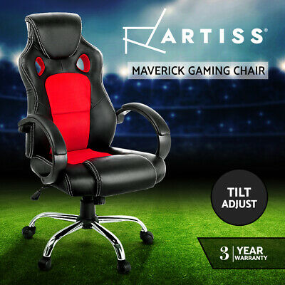 Racing Office Chair Sport Executive Computer Gaming Deluxe PU Leather Mesh Red