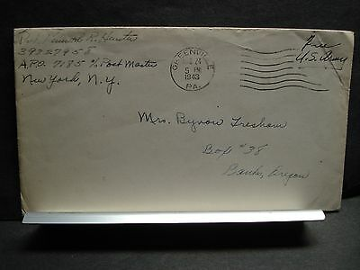 APO 7185 GREENVILLE, PENNSYLVANIA 1943 WWII Army Cover Soldier's Mail