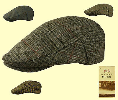 Failsworth English Tweed Flat Cap - Moon Fabric Green Blue Grey Check 56- 63cm