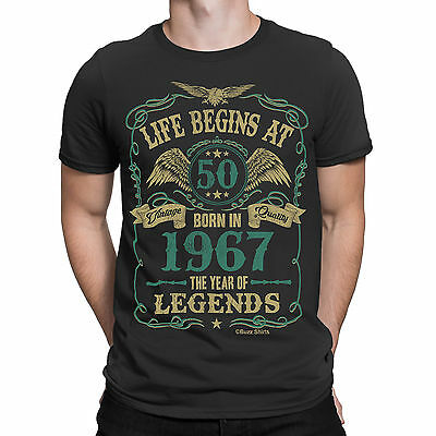 Life Begins At 50 Mens T-Shirt BORN In 1967 Year of Legends 50th Birthday Gift
