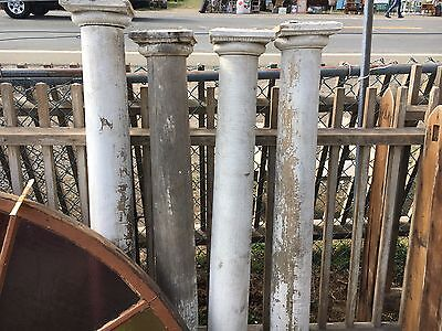Set of four antique late 19th century porch posts SOLID WOOD crackled white 56.5