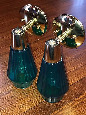 Vintage Mid Century TURQUOISE Cone Bullet Glass Shade Wall Sconce Fixtures