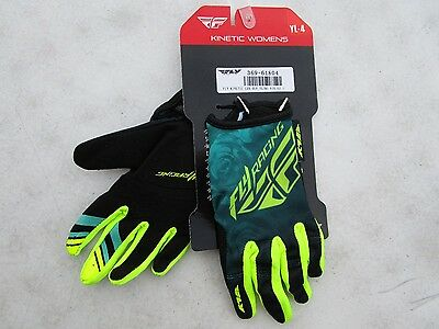 FLY racing KINETIC motocross gloves YOUTH size 4 LARGE  369-61804 hi-viz