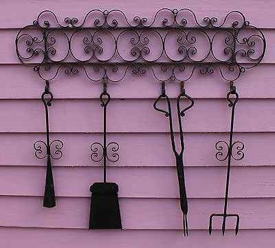 Fancy Antique Vintage Hand-Forged Iron Fireplace Stove Tool Set