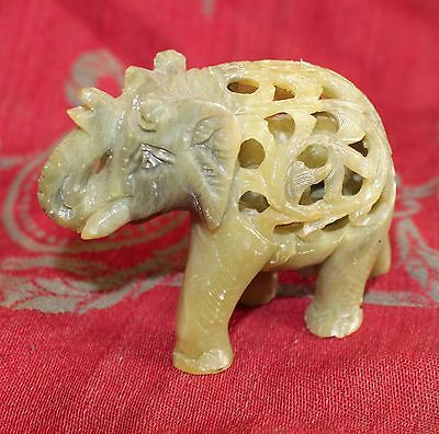 Vintage Carved Elephant Figurine with Baby Inside Jade Alabaster Stone