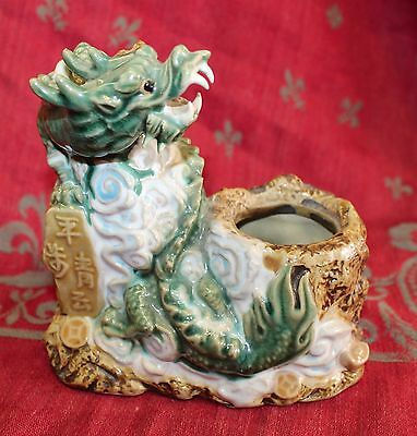 Antique Vintage Asian Majolica Ink Well Paint Brush Washer Ceramic Dragon