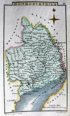 WALES MONMOUTHSHIRE   BY SIDNEY HALL HAND COLOUR GENUINE ANTIQUE MAP  c1826