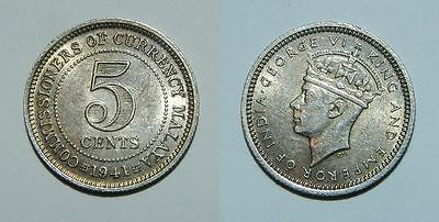 British Malaya : Silver 5 Cents 1941 -  High Grade With Lustre