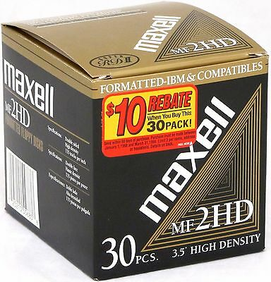 "Maxell MF 2HD 3.5"" High Density Floppy Disks 1.44 MB IBM Formatted Pack of 27"
