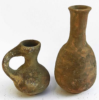 Set of Ancient Antique Jugs Holy Land Roman Herodian Clay Pottery Oil Filler Rep