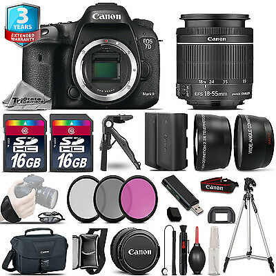 Canon EOS 7D Mark II Camera + 18-55mm -3 Lens Kit + 32GB +EXT BATT +3yr Warranty