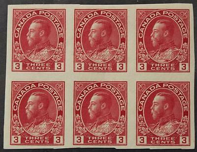 #138 Admiral Imperforate Block Of 6, 5 Stamps NH, 1 Hinged
