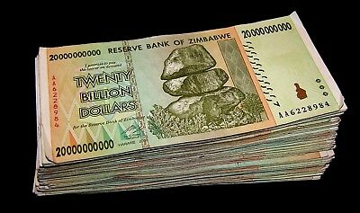 20 x Zimbabwe 20 Billion Dollar banknotes- paper money currency