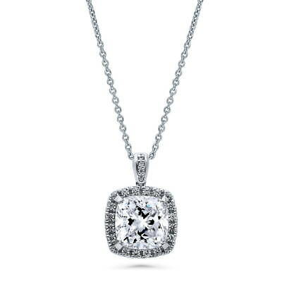 BERRICLE Sterling Silver Cushion Cut CZ Halo Fashion Pendant Necklace