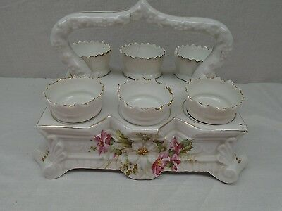 Victorian German Porcelain 6 Egg Cup with Carrier