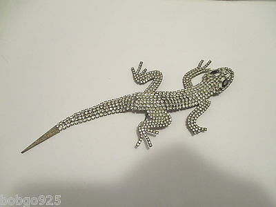 Shoulder Pin Rhinestone Lizard 7.5 inch long Vintage Large Figural Brooch