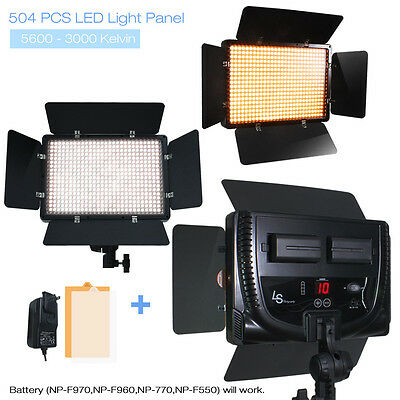 504 LED Light Panel Kit Photography Video Studio Lighting Dimmer Mount Photo