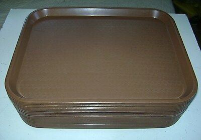 """Used Lot 20 Food Service Trays Plastic Serving School Lunch 17 3/4"""" X 14"""" Brown"""
