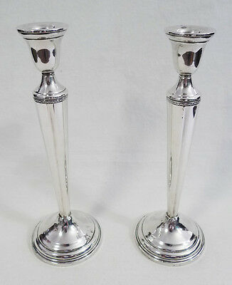 """Sterling Silver Tapered Weighted Base Tall Candle Stick Holder Set 9.5"""""""